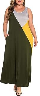Women's Sleeveless Round Neck Patchwork Splice Casual Long Dresses Plus Size Maxi Dress