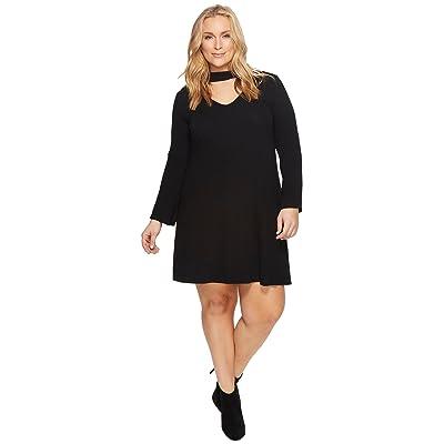 Karen Kane Plus Plus Size Mock Neck Taylor Dress (Black) Women