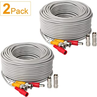 2Pack 150Feet BNC Vedio Power Cable Pre-Made Al-in-One Camera Video BNC Cable Wire Cord Gray Color for Surveillance CCTV Security System with Connectors(BNC Female and BNC to RCA)