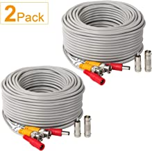 2Pack 50Feet BNC Vedio Power Cable Pre-Made Al-in-One Camera Video BNC Cable Wire Cord Gray Color for Surveillance CCTV Security System with Connectors(BNC Female and BNC to RCA)
