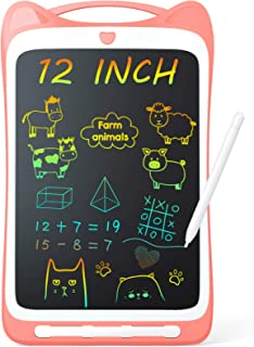 Jasonwell Kids Drawing Pad Doodle Board 12'' Colorful Toddler Scribbler Board Erasable LCD Writing Tablet Light Drawing Board Educational Learning Toys Gifts for 3 4 5 6 7 8 Year Old Girls Boys(Pink)