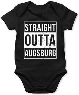 Bazi Shirts Schwaben Babys - Straight Outta Augsburg Weiss - Baby Body Strampler