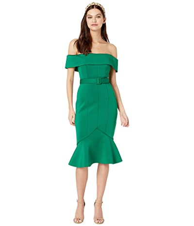 Badgley Mischka Off-the-Shoulder Belted Scuba Cocktail Dress (Green) Women