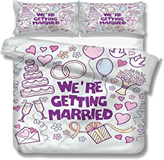 Mademai King Size Duvet Cover Set Wedding,Happy Collection Doves for Kids/Teens/Adults Hidden Zipper Quilt Cover Printed