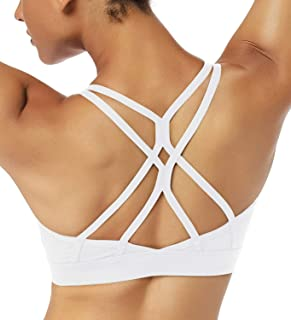 GILLYA Strappy Sports Bras for Women Sexy Gym Sports Bra Yoga Bra with Medium Light Support Removable Cups