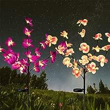 Solar Lights Outdoor-Solar Garden Lights 2 Pack Orchid Solar Flower Lights for Garden,Patio,Backyard(Purple/Pink) Purple+Pink
