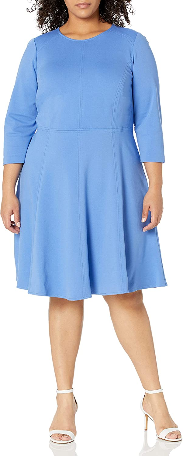 Eliza online shop J Women's 3 4 Sleeve Flare Max 61% OFF Dress Knit Fit and