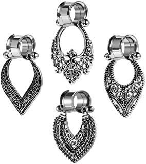 SUPTOP 2pcs Dangle Gauges 0g Plugs and Tunnels Surgical Steel Saddle Expander Double Flare Stretched Ears Size 2G-1 inch