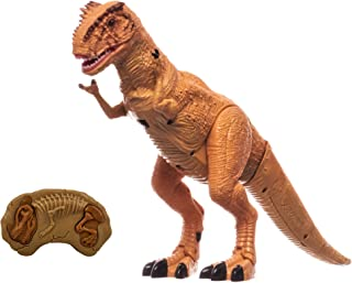 O.B Toys&Gift RC Walking Dinosaur Toy Tyrannosaurus Rex w/ Roar Sounds , Head Shakes & LED Lights , Remote Control Kids Dinosaur T-Rex
