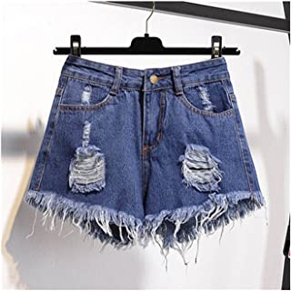 2be2725399 Jwhui Denim Shorts Women Lady High Waist Ripped Tassel Hot Short Pants Short  Jeans Oversized Plus
