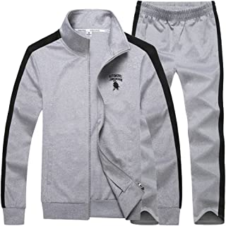 Luckyoung Men's Athletic Full Zip Poly Jogger Tracksuit Sports Sets Casual Sweat Suit