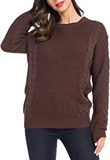 JTANIB Womens Sweater Off Shoulder Long Sleeve Pullover Oversized Knit Jumper Top