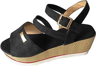 FNKDOR Chaussure Mode Sandale Escarpin Hauts Talons Bohème Femme Sandales Compensees Bout Ouvert lanière Simple Basique li...