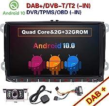 FOIIOE 9 Pulgadas Doble DIN Android 10.0 Compatible para VW Golf Android Car Stereo Radio Video Receiver Quad Core System 2GB RAM 32 Ron GPS Navigation Bluetooth USB Radio WiFi 4G OBD2 DVR DVB-T Dab+