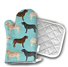 Cute Labradors Yellow Chocolate Black Lab Pet Dogs Kitchen Potholder - Heat Resistant Oven Gloves to Protect Hands and Sur...