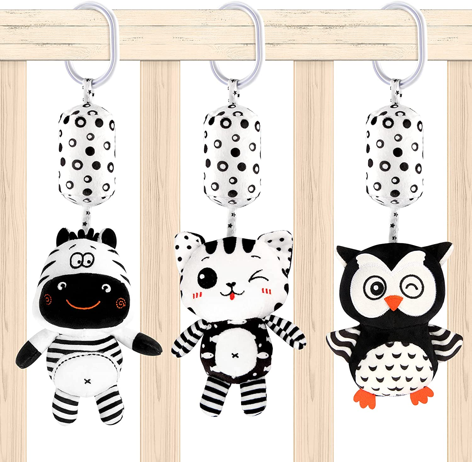 ZEIZRWK Hanging Rattles Toys White & Black Stroller Toy, Newborn Toys Infant Toys Crib Toys, Soft Plush for Stroller Car Seat Crib with Wind Chimes, Baby Gift for 0,3,6,9,12,18 Months(Cat owl Zebra)