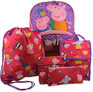 Peppa Pig Girls 5 piece Backpack and Lunch Bag School Set, Pink/Purple, One Size