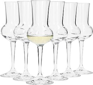 Bormioli Grappaglas Set 6 teilig I Füllmenge 75 ml I Gesamthöhe des Glases 16,5 cm I Stiellänge 5,8 cm I Klassiches Grappaglas für Das berühmte Italienische Getränk