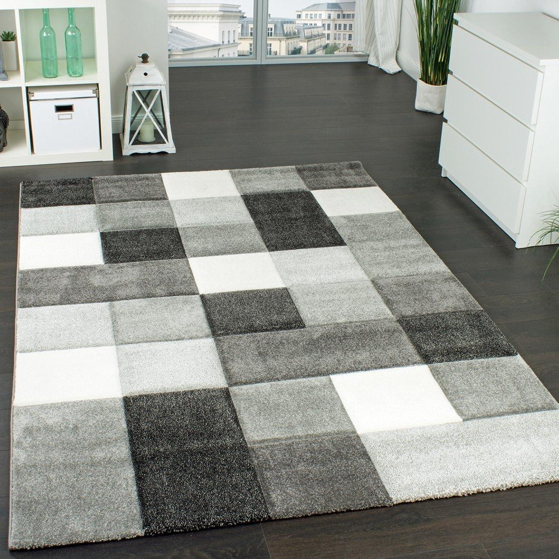 Paco Home Designer Teppich Modern Handgearbeiteter Konturenschnitt Kariert Grau Wei, Grsse 160x230 cm