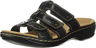 Clarks Women's Leisa Spring Sandal, Black Leather, 90 W US