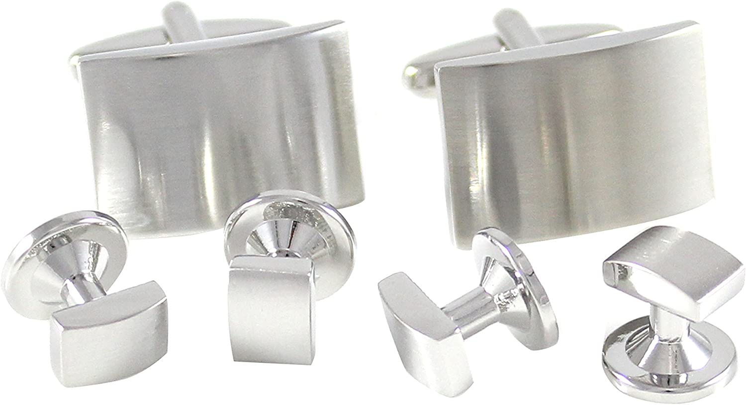 MENDEPOT Classic Rhodium Plated Brushed Curved Rectangle Formal Wear Shirt Cuff Link and Studs Set with Box