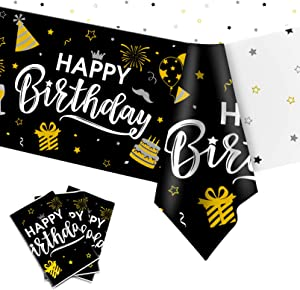 Happy Birthday Decorations, 3pcs Black and Gold Birthday Tablecloth for Men Women, Plastic Disposable Rectangle Table Cover for 90th 80th 70th 60th 50th 40th 30th Birthday Party Decor- 54