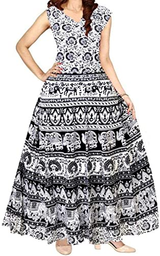 Wrap Maxi Long Pure Cotton Long Dress for Woman and Girls Black and White Animal Print Buti01 free size XL