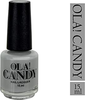 Ola Candy Grey Day Nail Color Nail Polish, Eco-Friendly Non-Toxic Finger Nail, Safe Dry Fast Collection for Women, Teens, Kids with Top Coat, Professional Kits Nail Polish (Grey, 15 ML)