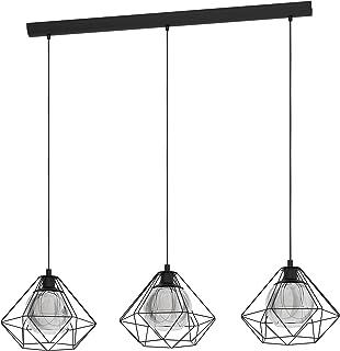 EGLO Vernham - Lámpara de techo colgante, 3 focos, estilo vintage, industrial, retro, de acero y cristal vaporizado, color negro, transparente, lámpara de comedor colgante con casquillo E27