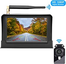HD Digital Wireless Backup Camera Kit,Stable Signal Reverse Camera System with Super Night Vision,IP69K Waterproof Rear View Camera 5'' TFT 1080P Monitor for Trucks,Vans,Campers,SUV Guide Lines On/Off