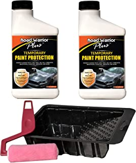 Road Warrior Plus Paint Protection Film - Temporary Roll-On Automotive Exterior Protector from Rocks, Scratch and Chips - Coating Applies White, Dries Clear - Easy Removal - Bonus Applicator 16oz Kit
