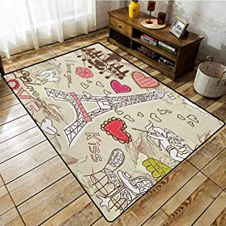 Collection Area Rug,Paris,Doodles Illustration of Eiffel Tower Hearts Chandelier Flower Love Valentines Vintage,Anti-Static, Water-Repellent Rugs,5'6