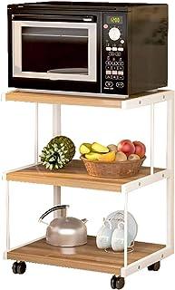 Étagère à Micro-Ondes Stable Support De Four à Micro-Ondes De Cuisine De 3 Couches avec Le Cadre d'acier Inoxydable De Rou...