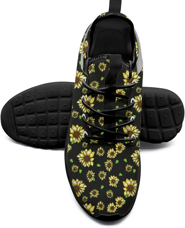 Sunflower Black Background Cool Women's Tennis shoes Retro Mesh Lightweight Running Sneakers