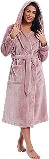 Womens Fleece Long Robe Soft Warm Plush Bathrobe with Hood