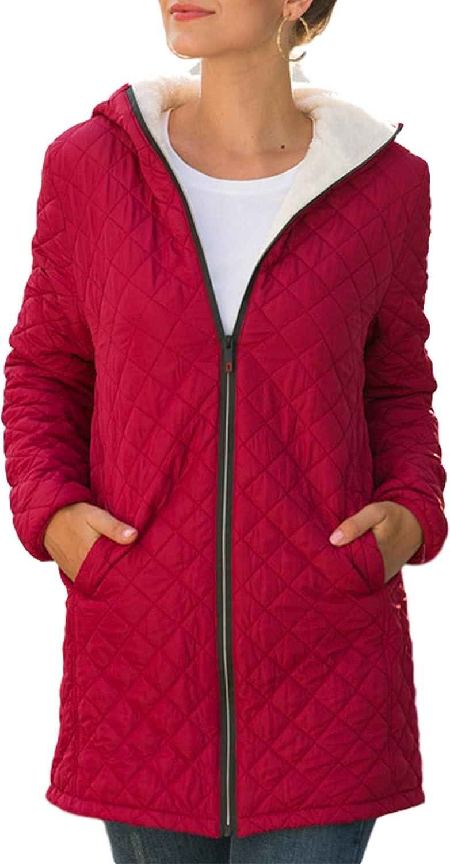 Yeokou Women's Winter Limited price sale Zip Up Excellent Sherpa Fleece Casual Coat Mid-Long