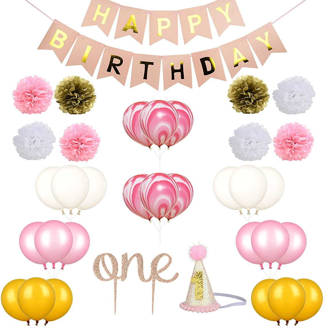 Zhenhui 1st First Birthday Girl Decorations Pink Bday Party Supplies Set Including Happy Birthday Banner,One Cake Topper,1st Birthday Cone Hat,24 Pcs Balloons,8 Pcs Tissue Paper Pom Poms (Set of 35)