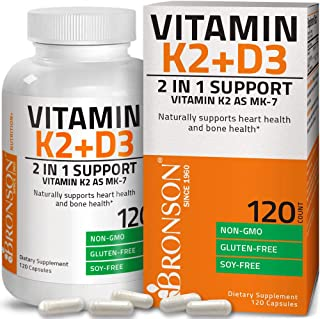 Vitamin K2 (MK7) with D3 Supplement Bone and Heart Health Non-GMO Formula 5000 IU Vitamin D3 & 90 mcg Vitam...