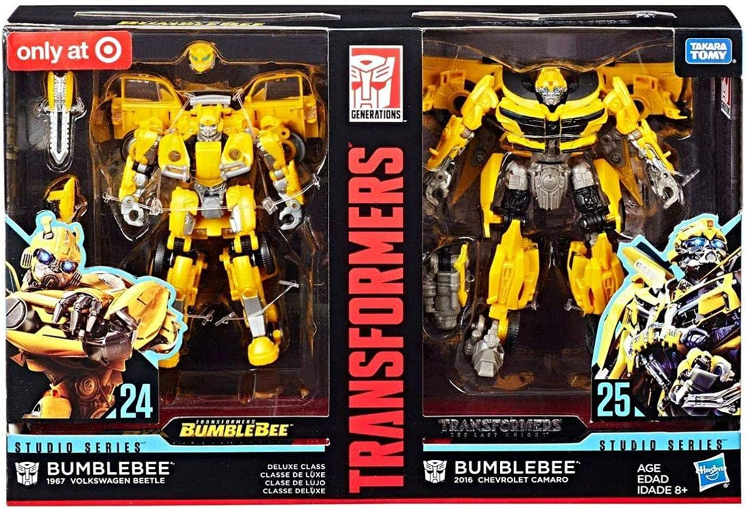 Transformers Studio Series 24 and 25 Deluxe Class Bumblebee 2pack Including 1967 Volkswagen Beetle Bumblebee Movie Version and 2016 Chevrolet Camaro The Last Knight Movie Version