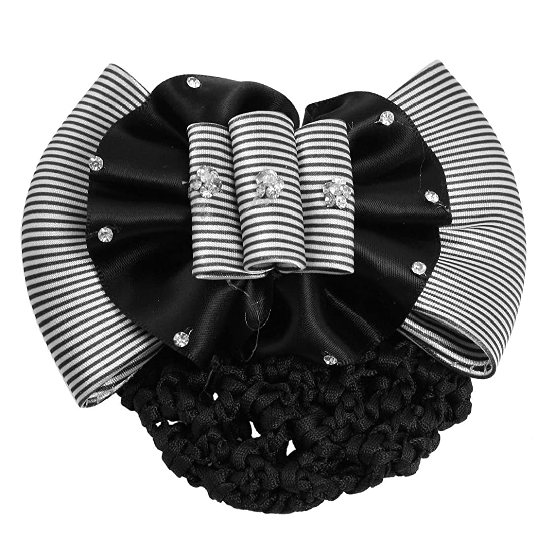 控えめな落ちたディスクRETYLY RETYLY(R)フェイクラインストーンの装飾シャーリングボウヘアクリップスヌードネットおだんごカバーホワイトブラック