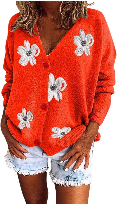 Women's Knitwear Button Down Sweater Casual Long Sleeve Open Front Soft Flower Knit V Neck Sweater Cardigan Outerwear Coat