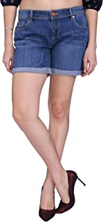 KVL Cotton Woven Denim Shorts for Women-Dark Blue