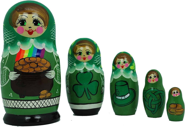 Gabriella's Gifts Irish Nesting Doll Set of 5 Beautiful Russian Hand Painted Green