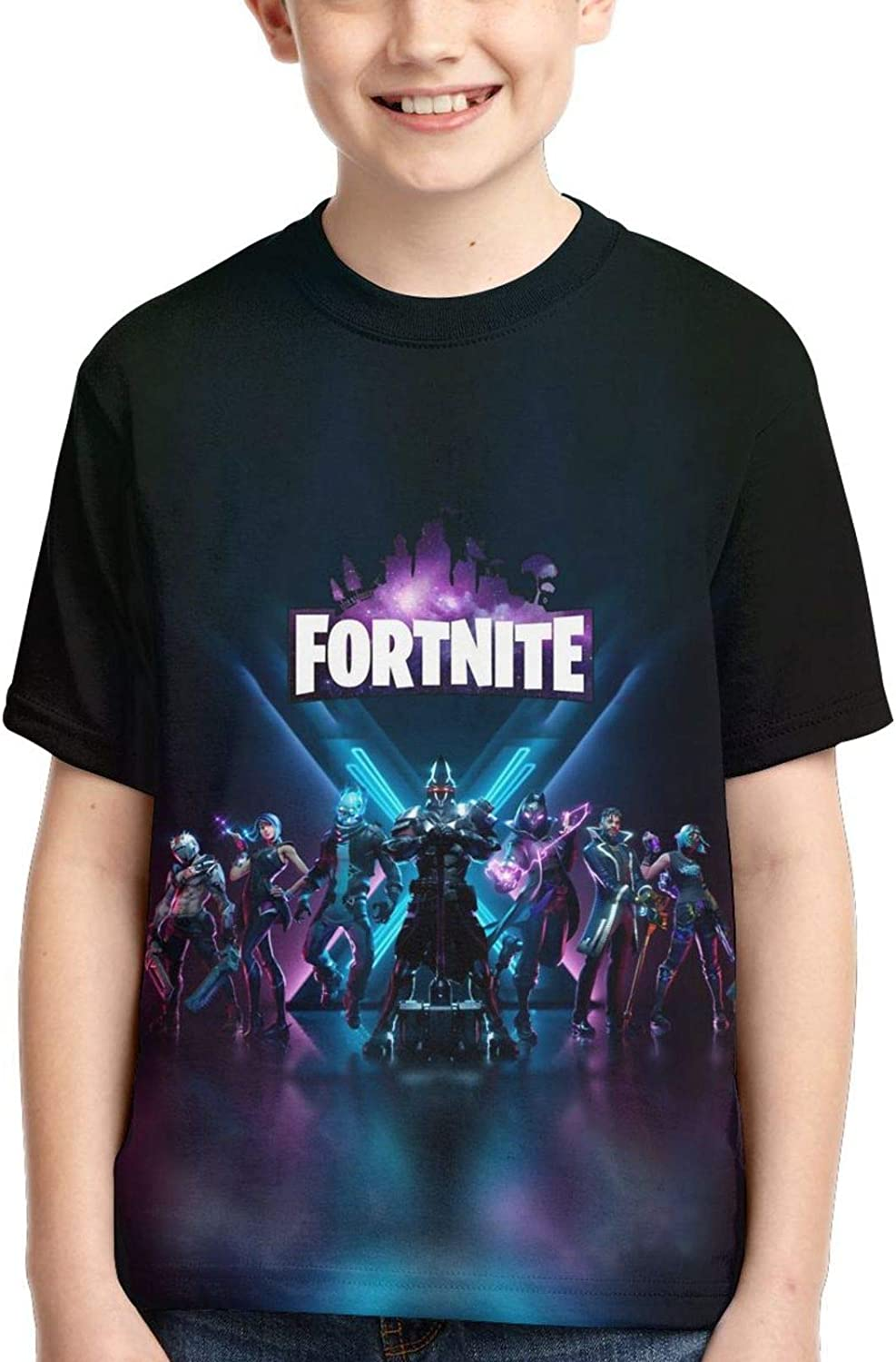 Dewfew Cool T Shirts Kids Youth Crewneck Fashion 3D Print Short Sleeve Tee for Boys and Girls