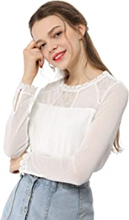 Allegra K Women's Lace Floral Panel Long Sleeves Peasant Blouse Crew Neck Chiffon Top Shirt