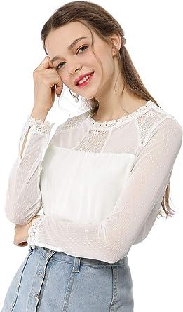 Allegra K Camisa De Gasa Top Panel Floral De Encaje Cuello Redondo Blusa Campesina Mangas Largas para Mujeres