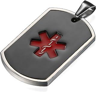 Flongo Pendente Ciondolo di avviso medico Croce rossa, Collana identificativo in acciaio inossidabile inciso per allergie,...