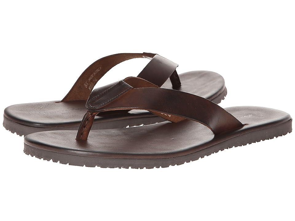 Massimo Matteo Leather Thong Sandal (Marrone) Men