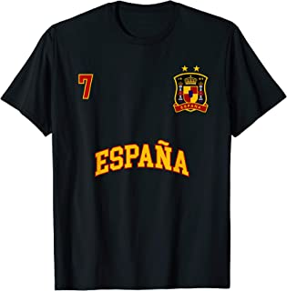 Spain Shirt Number 7 Soccer Team Spanish Flag Futbol Espana