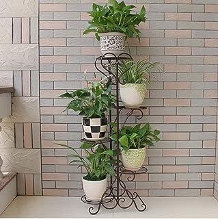 FJFSC 5 Tier Flower Racks Iron Metal Standing Shelf for 5 Plant Flower Pots Holder Garden Storage Shelf for Indoor Living ...